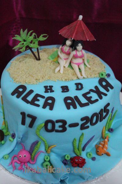 Beach Feeling Birthday Cake ikabalicake.com