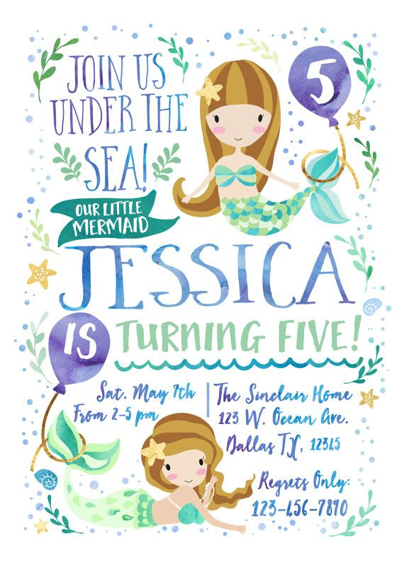 Mermaid Birthday Invitation, Our Little Mermaid, under the sea, Pool party Invitation, Watercolor Birthday Invitation- Digital File JPEG  Your personalized birthday invitation will come in the form of a 300dpi high resolution JPG FILE that will be emailed to you within 2-3 business days after order placement, so long as all information needed to complete the invitation has been provided buy the purchaser. Because this is a digital file, you can print as many copies as youd like from your…
