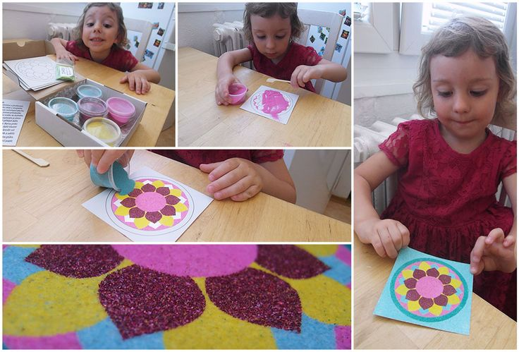 Mandala from colored sands. Kids activity 3 years old.