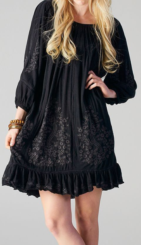 Black Embroidered Tunic...would be so cute with black cowboy boots!