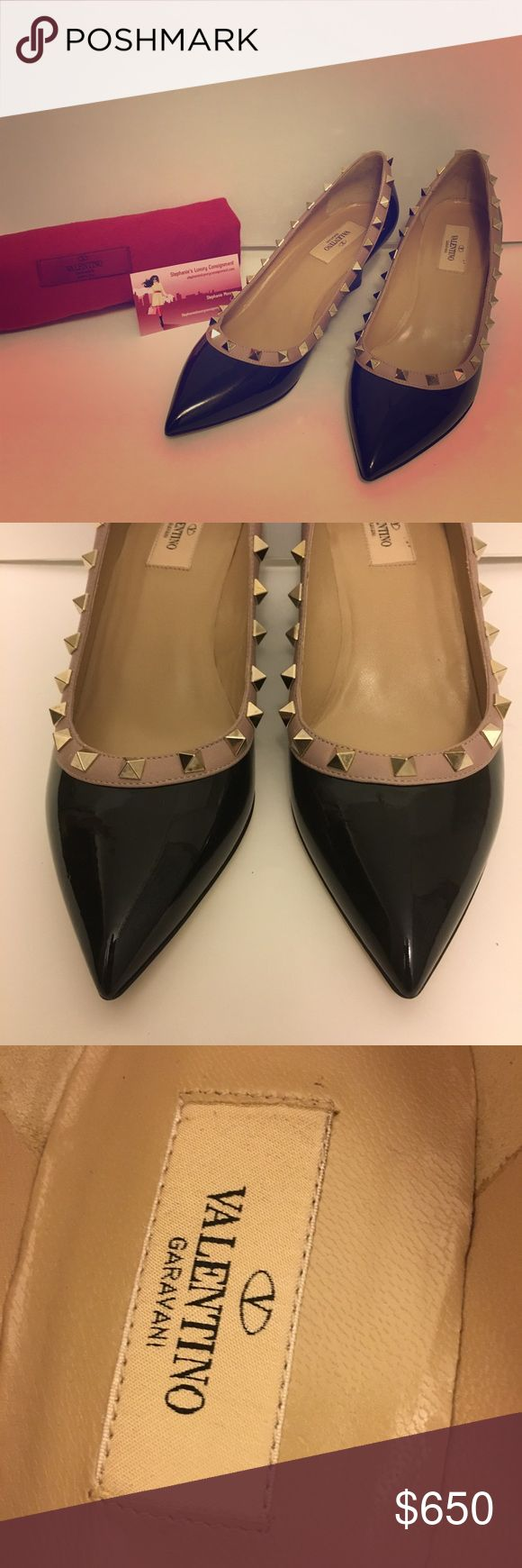 Valentino Rockstud Black Wedges 100% authentic gorgeous and like new Valentino Rockstud black wedges! Dustbag box included. Heel height is 2.8 inches. Total perfection- comfort, sassy and classy 😉 retail price is $895. Light scratches on studs from storage. Never worn only tried on. Light white scuff mark on right shoe as seen in picture. Not really visible but wanted to disclose:) no trades Valentino Shoes Wedges