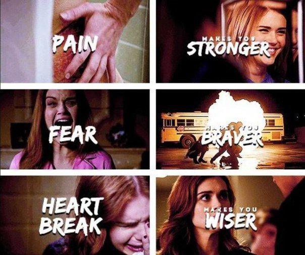 - Боль - делает сильнее. - Страх - делает храбрее. - Разбитое сердце - делает мудрее. #TeenWolf #LydiaMartin