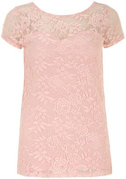 Dorothy Perkins Tall pink scoop back lace tee on shopstyle.com.au