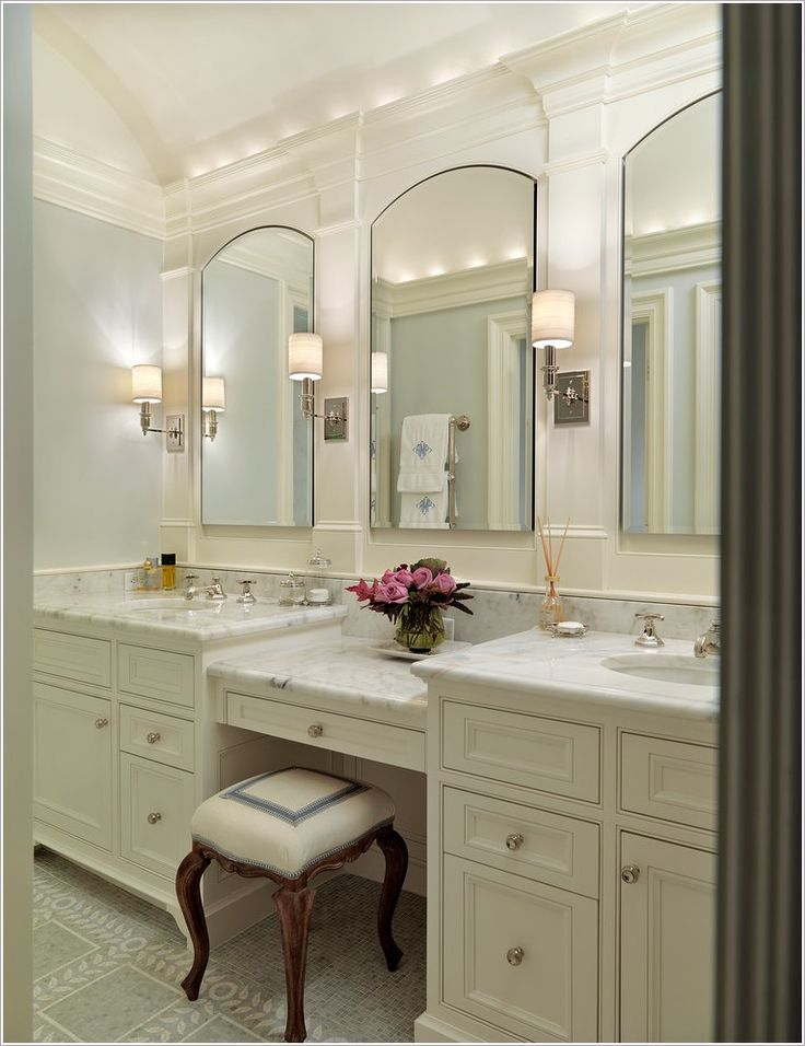 Want a double sink vanity with actual seat either between sinks or to the right, as asymmetrical option
