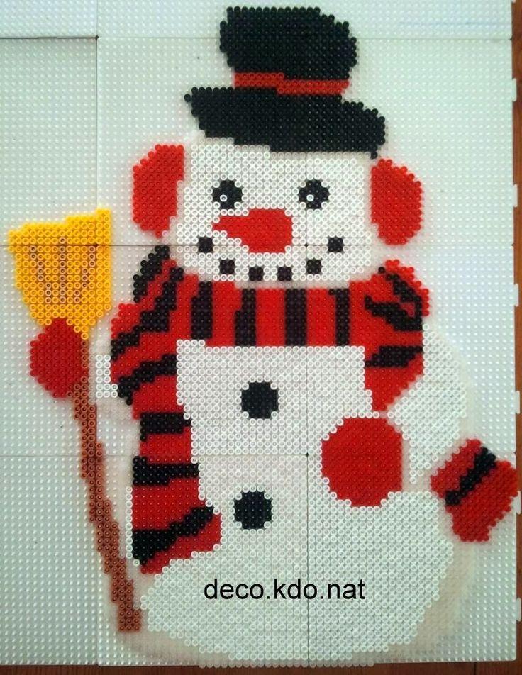 Winter Snowman hama perler beads by deco.kdo.nat