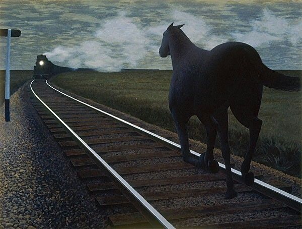 Canadian painter Alex Coville  Horse and Train  1954