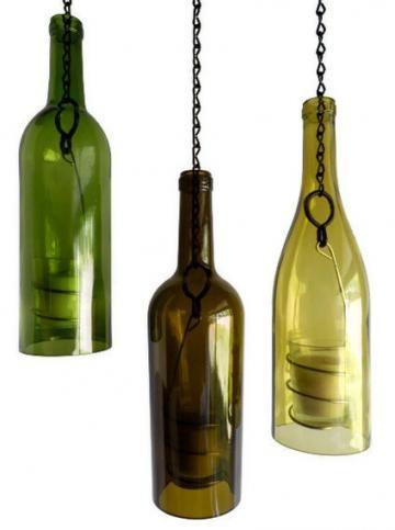 Three Glass Wine Bottle Candle Holder Hanging Hurricane Lanterns Green Olive Gold by BoMoLuTra for $54.00 #zibbet #rusticHolders Hanging, Bottle Lanterns, Candle Holders, Candles Holders, Hanging Hurricane, Wine Bottle Candles, Hurricane Lanterns, Wine Bottles, Glasses Wine