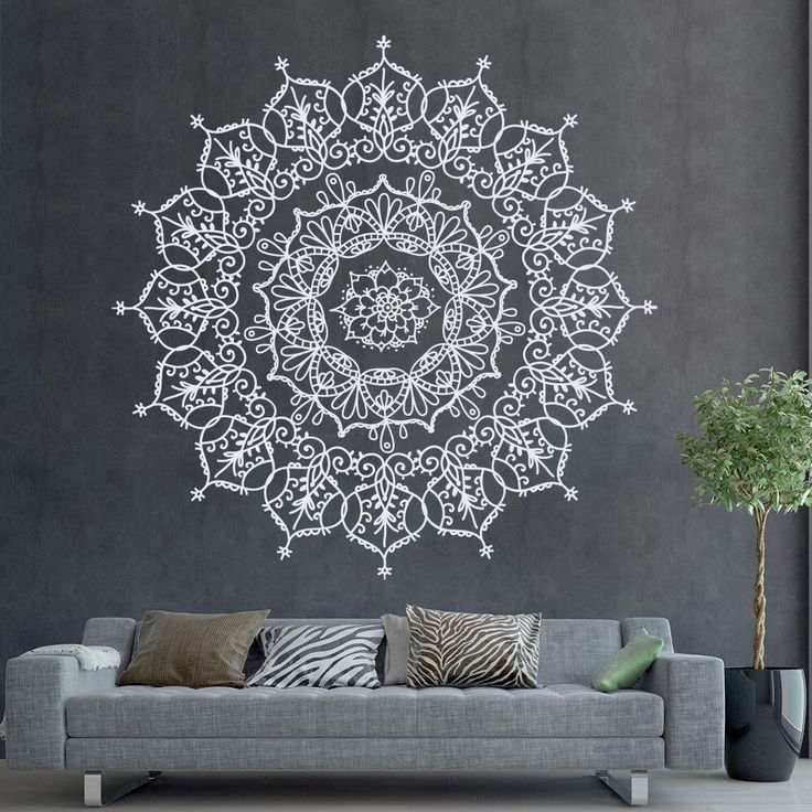 Bohemian indian pattern mandala wall decals floral vinyl stickers yoga art ornament design interior