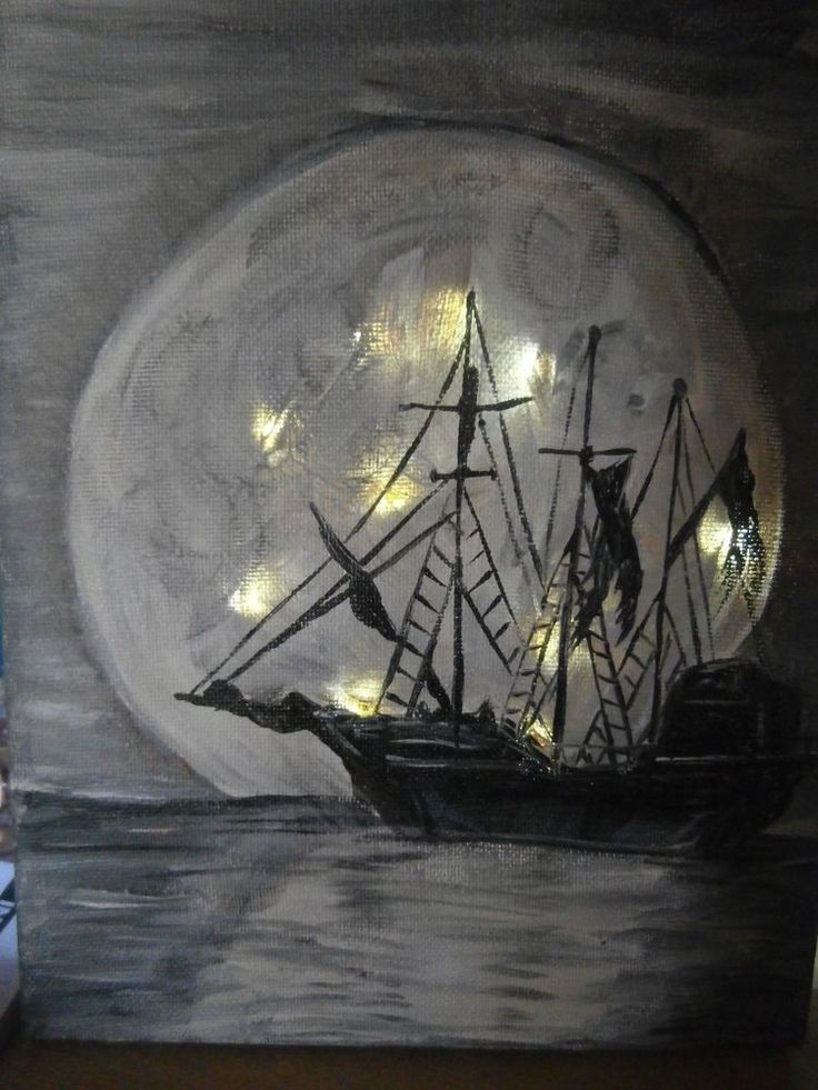 hAND PAINTED 8 x 10 FULL MOON GHOST SHIP LIT  CANVAS, HALLOWEEN. MADE IN THE USA #LIGHTED