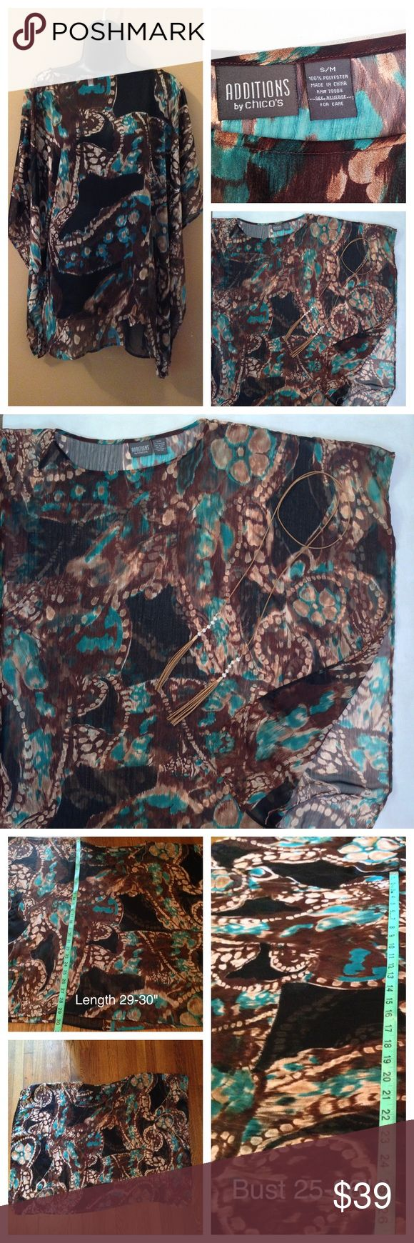 CHICOS Abstract Chiffon Poncho Batwing Top MEASUREMENTS IN PHOTOS. Size S/M though its oversized and can fit an XS-XL. Chocolate brown, black, and turquoise abstract print. Semi-sheer. Lots of flow and movement! Large batwing dolman armholes. Great condition! Chico's Tops