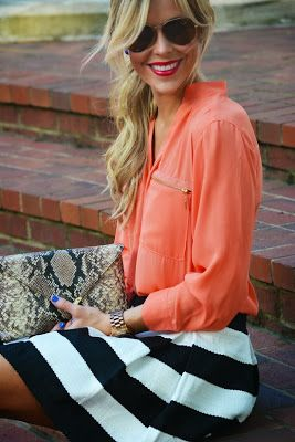 Coral and stripes fashion | Fashion World