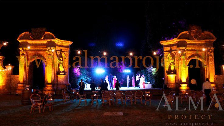 ALMA PROJECT @ Villa di Geggiano - bulbs lighting - garden - amber uplights - 143