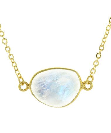 Love this White Moonstone & Gold Pendant Necklace on #zulily! #zulilyfinds