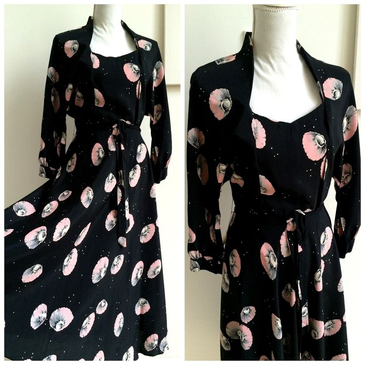 40s - Rare Collector's  Pink & Black Jellyfish Dress - W28 (72cm), €180