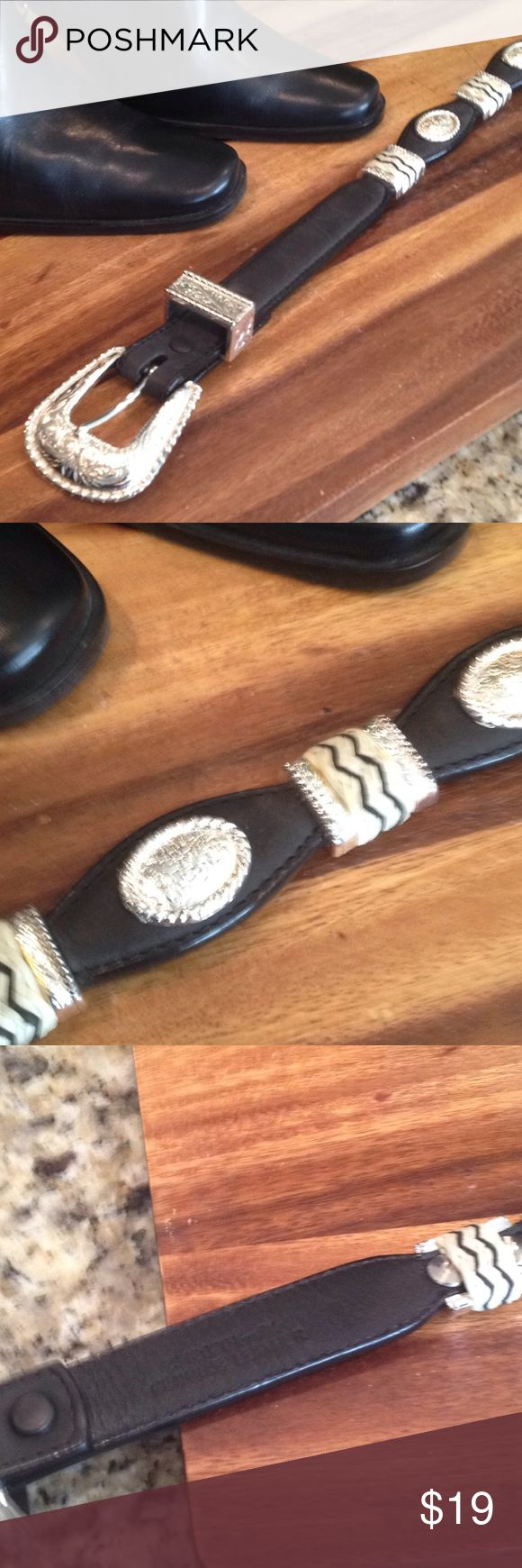 Western style belt Black leather and silver buckle  Western style belt Size 32 waist Accessories Belts