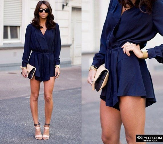 Do beige and navy blue go together? -- READ the answer by clicking the button below -- 4Styler, the smart F&A community. #Q&A #Style #Fashion #color #combination #navy #beige #streetstyle #fashionblog #blue #romper #jumpsuit #golden #accessories #clutch #braselet #heels #notyourstandart #outfit #casual #everyday #wedding #guest