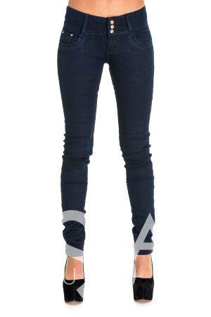 Теплые темно-синие джинсы с эффектом плоского живота