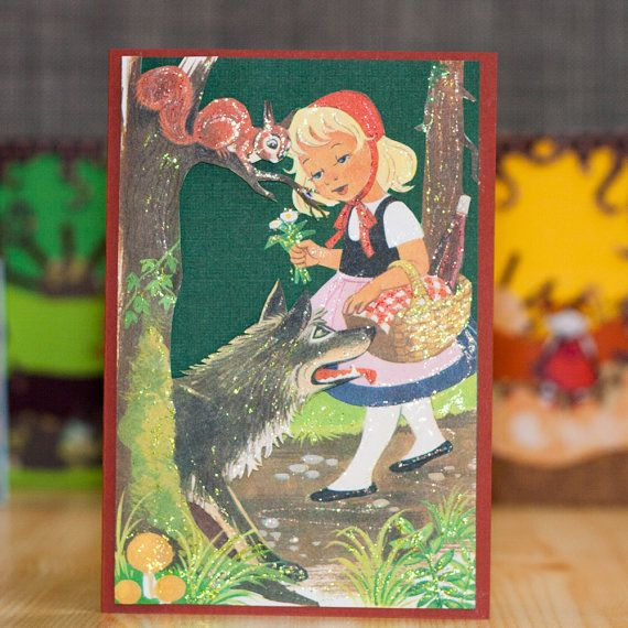 Note card - Little Red Riding Hood on the path: One of a kind greeting card, layered 3d effect, no text inside, handmade in Norway