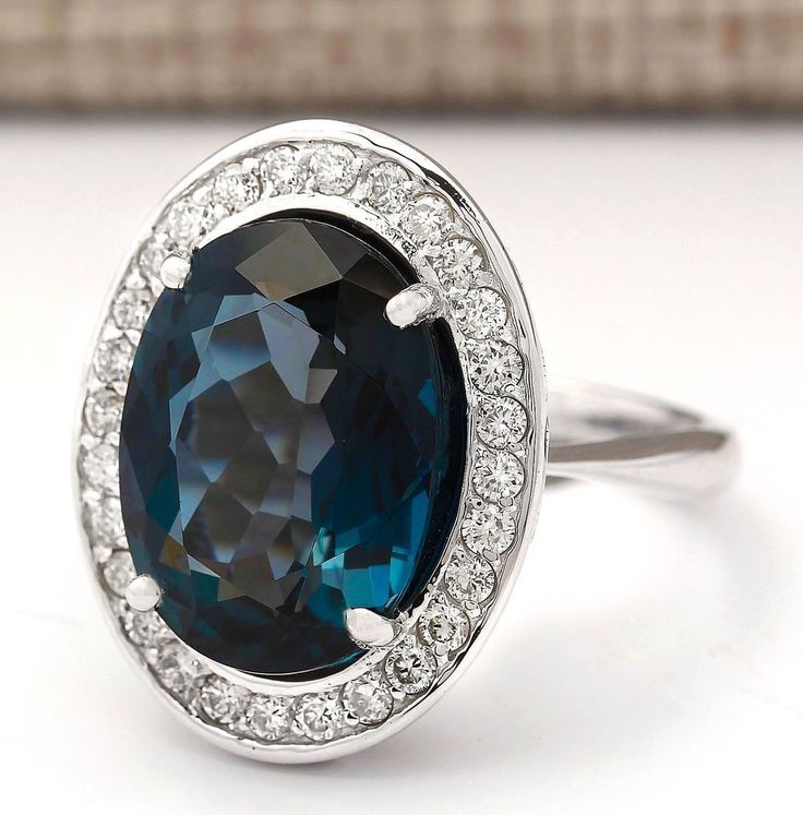 11.78 CTW Natural London Blue Topaz And Diamond Ring In14k Solid White Gold