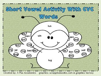 This short vowel activity uses CVC words. Students color words with short a,e,i,o,and u vowels to make a picture.Enjoy and Make It A Great Day!