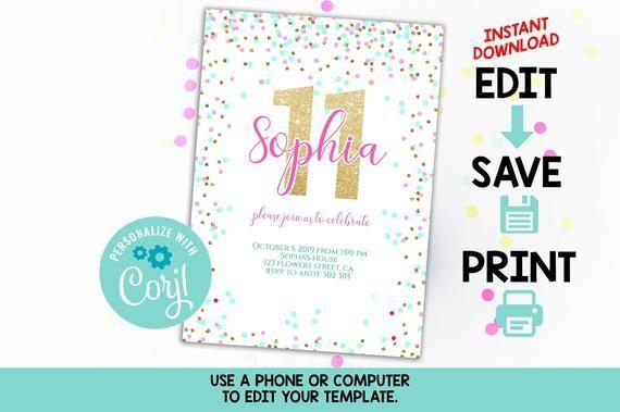 11th birthday invitation editable pink