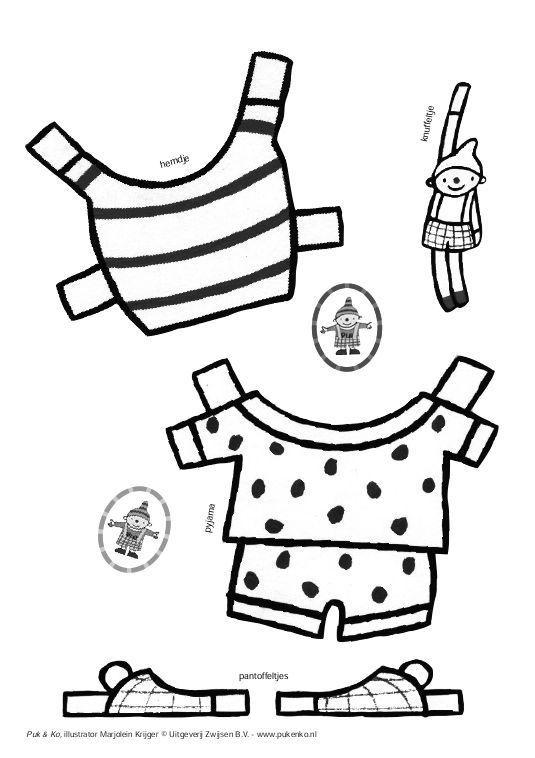 kleed aan puk peuter thema knutselen thema kleding