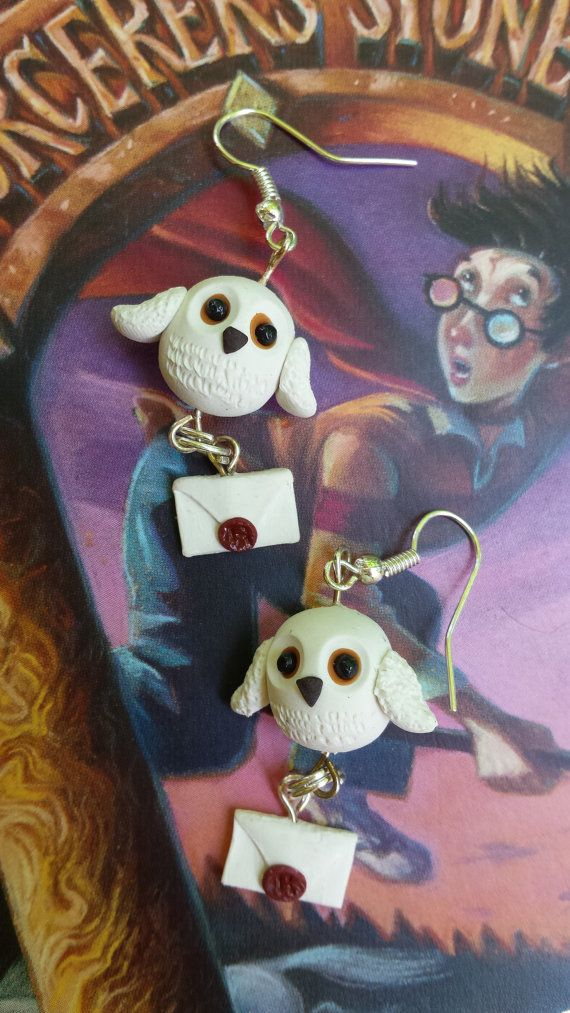 Harry Potter's Hedwig Earrings Polymer Clay by CarryOnClaywardSon