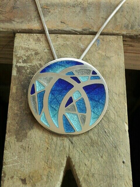 Silver & enamel pendant featuring hand engraved detail. 36 x 36 mm 2013 Charlotte Smith