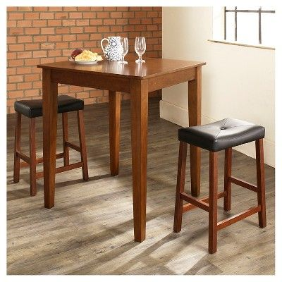 3 Piece Pub Dining Set with Tapered Leg and Upholstered Saddle Stools - Classic Cherry (Red) Finish - Crosley