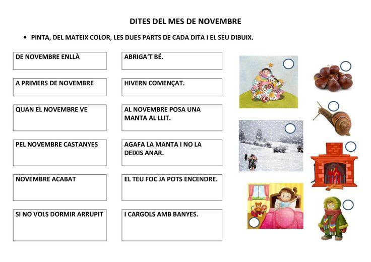 Activitat de comprensió lectora amb dites del mes de novembre. Relaciona amb colors cada part de la dita i el seu dibuix.