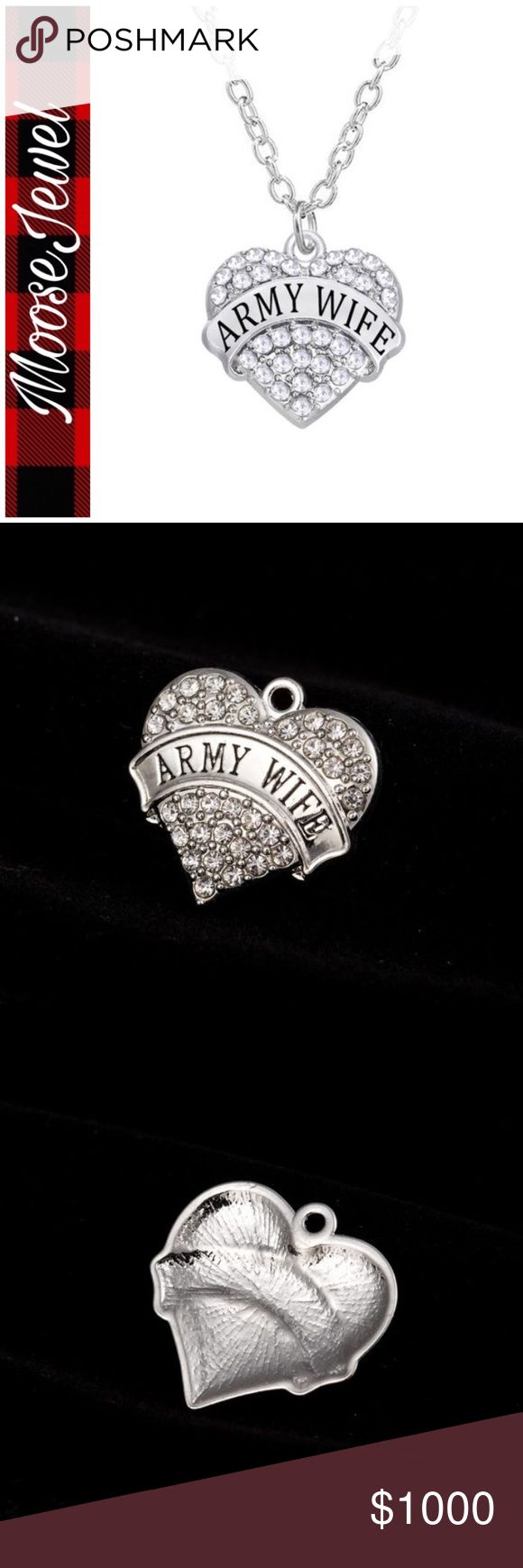 COMING SOON Show your support for your Army Husband with this silver plated Army Wife necklace. MooseJewel Jewelry Necklaces