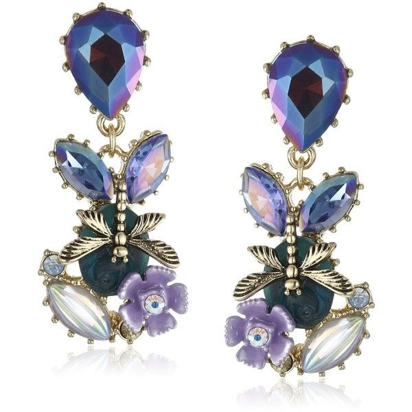 Betsey Johnson Spring Ahead Mixed Dragonfly and Stone Cluster Drop... ($40) ❤ liked on Polyvore featuring jewelry, earrings, orecchini, bullet jewelry, dragonfly earrings, teardrop stone earrings, stone earrings and betsey johnson jewelry