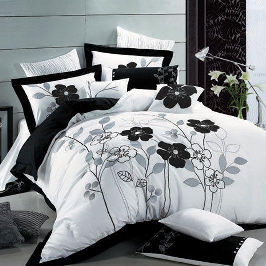 seasons collection poppy duvet cover set in white u0026 black beyond the rack