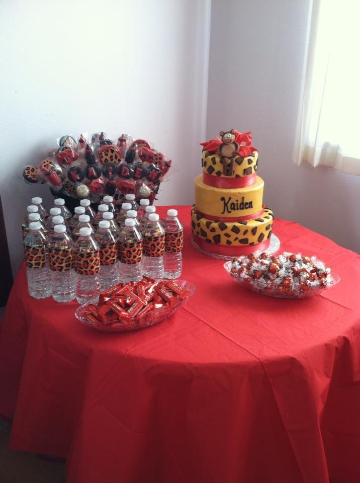 #BabyShower #Cake #WaterBottle #BabyName #Cheetah #Print #CakePops #Candy