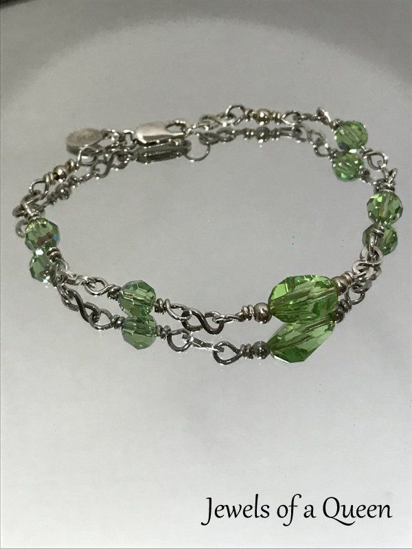 15abfcfe1 Peridot Swarovski Crystal Bracelet ~ Handmade Silver Peridot Bracelet ~ Sterling  Silver Wire Wrapped Bracelet ~ Handmade Peridot Bracelet by JewelsOfAQueen  ...