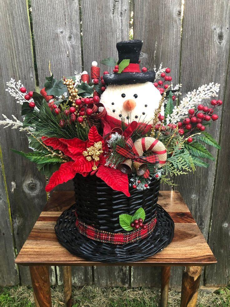 Snowman Centerpiece, Snowman Table Arrangement, Snowman
