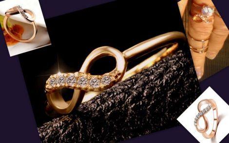 Inel Infinit Loveplacat cu aurCristale Austriece