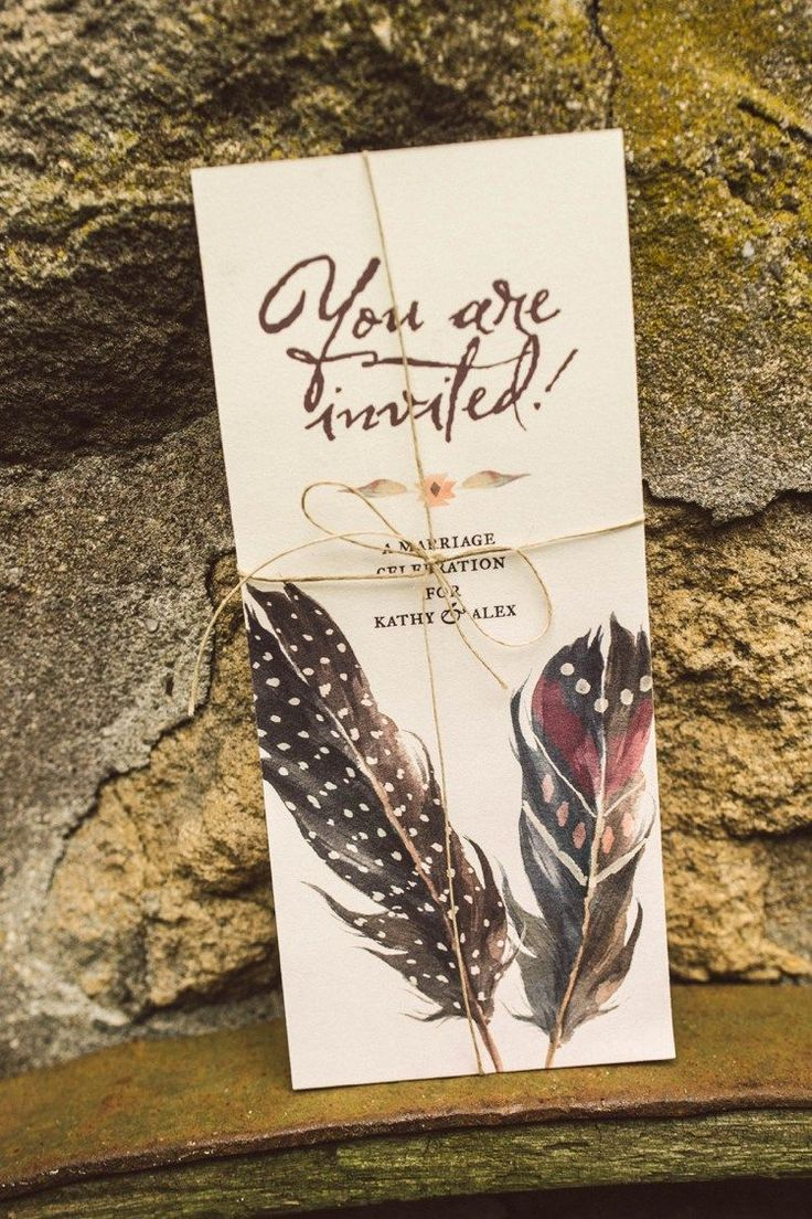 Invitation Stationery Feathers Bow Hippy Bohemian Outdoorsy Wedding in Pennsylvania http://tylerboye.com/