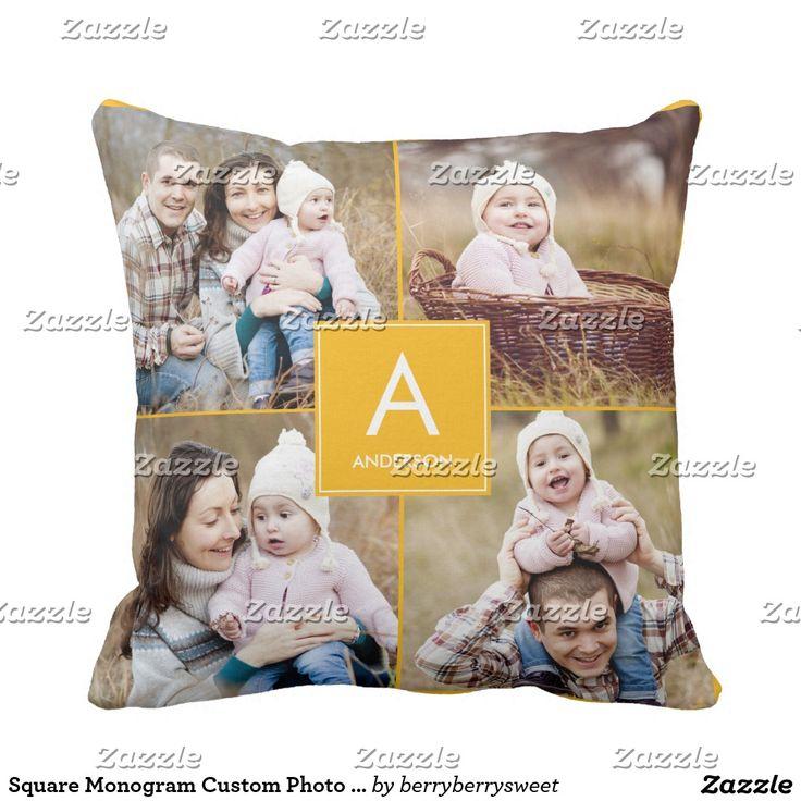 Square Monogram Custom Photo Throw Pillow. Inspiration to create your product. The photograph must have good resolution. Inspiración para crear tu producto. La fotografía debe tener buena resolución. #cojín #pillows
