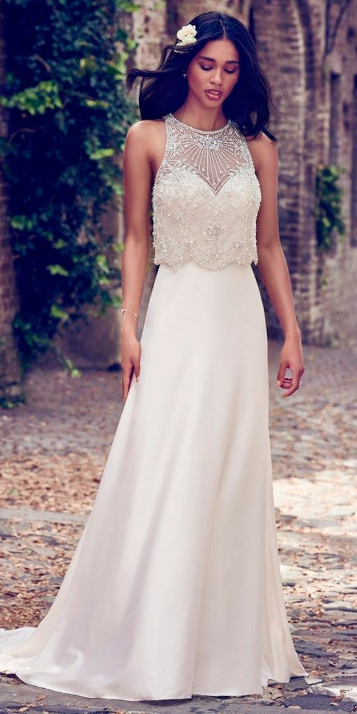 76e081b5f6c vintage wedding dresses 1920s bateau neckline heavily embroidered bodice maggie  sottero