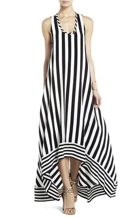 Mother of the Groom...for a resort wedding! Gia Silk High-Low Striped Dress | BCBG