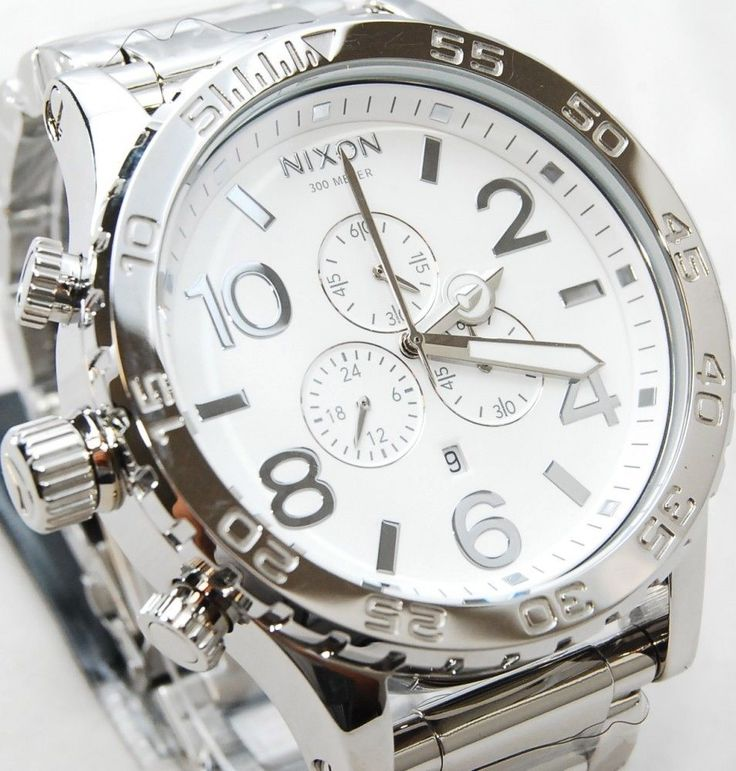 New Nixon Watch 51-30 Chrono High Polish Silver White Men's A083488 A083-488 #Nixon #Fashion