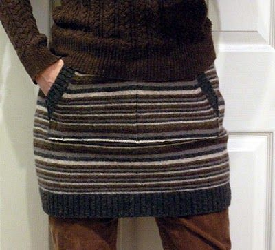 "Have a surplus of never-worn sweaters lying around? Turn those old sweaters into something new by following this innovative tutorial by Betz White. This sweater skirt, or ""Hip Huggie"" is both stylish (when styled the right way) and comfortable and no one will guess that it's made from a sweater you stole out of your dad's closet. To find out how Betz makes it, click here."