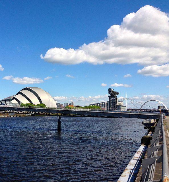 Armadillo, Crane, Arc & The millennium  (Glasgow Clydeside, Clyde Auditorium, Finnieston Crane, Clyde Ark and with the Millennium Bridge in foreground ) by FreakOutITGeek, via Flickr