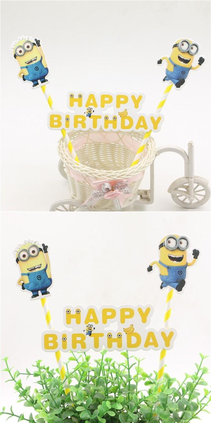 [Visit to Buy] happy birthday party minions decoration toppers baby shower supplies kids favors cartoon cake flags baking baby shower #Advertisement
