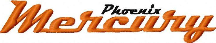 Phoenix mercury logo embroidery design 2. Machine embroidery design. www.embroideres.com
