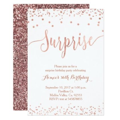 Rose Gold Surprise Birthday Invitation