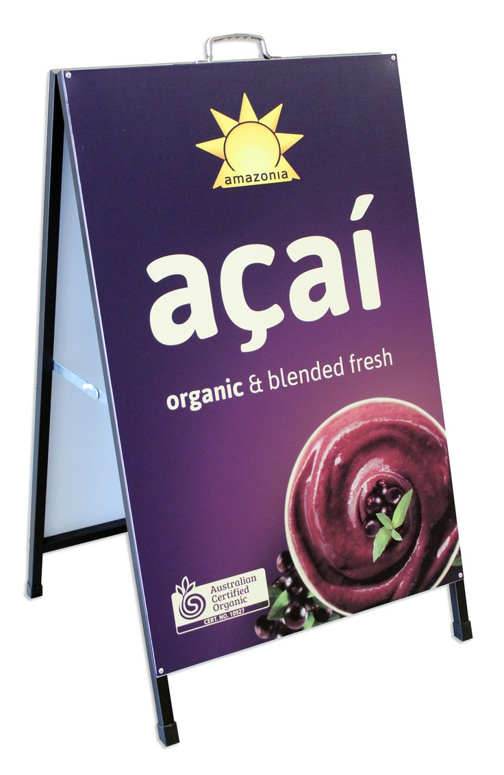 Metal A-Frame - (60x90cm Sticker) Maximise the space and get a full vibrant interchangeable sticker image of your brand on this lovely A-frame.  A-frames are versatile and cost-effective signage solution. Ideal for placement on sidewalks or outside shopfronts to attract attention and draw customers through the door.