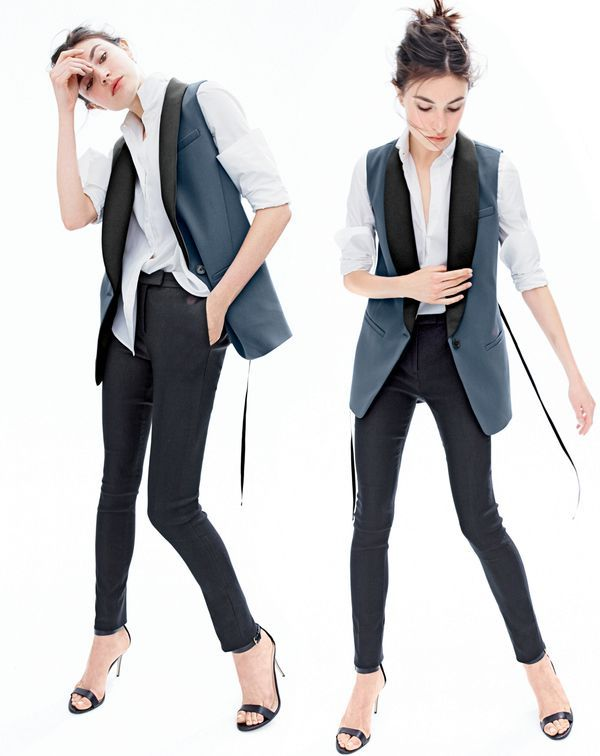 OCT '15 Style Guide: J.Crew women's Collection tuxedo vest, Thomas Mason® for J.Crew boy shirt, Ryder pant and high-heel ankle-strap sandals.