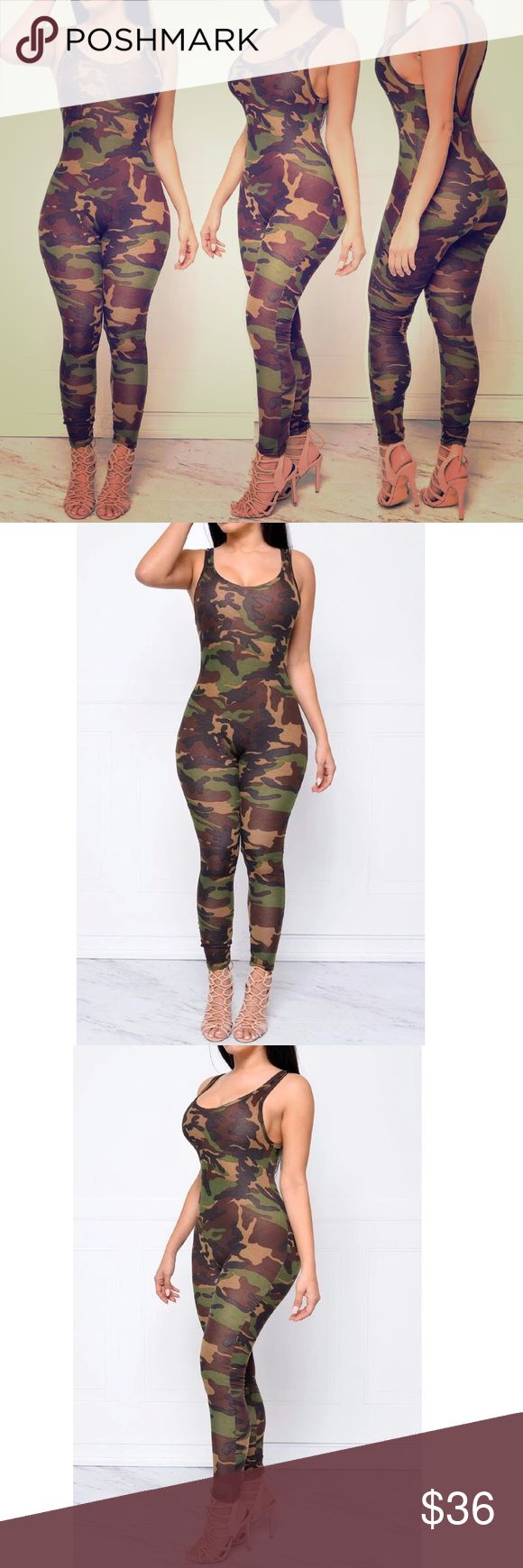 🌸🌸🌸Camouflage Jumpsuit !🌸🌸🌸 Women Jumpsuit Sexy Romper Army Camouflage Bodysuit Bodycon O-Neck Long Pants Women Overall!I DecorationHollow Out Fit TypeSkinny Pattern TypePaisley Type:Jumpsuits Fabric Type:Broadcloth Material:Cotton,Polyester Length:Full Length Color:Army Camouflage Color SeasonSpring, Autumn, Summer, Winter SizeS,M,L,XL FitFits true to size, take your normal size Pants Jumpsuits & Rompers